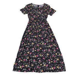 Vintage 90's black floral lightweight maxi dress